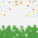 Festive christmas background with green branches Royalty Free Stock Images
