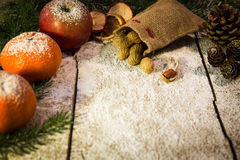 Festive christmas background with peanuts Stock Images
