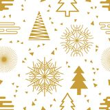 Festive Christmas background. Seamless vector pattern with decorated fir trees, snowflakes and abstract geometric elements. Minimalism design for packaging Stock Photo
