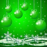 Festive christmas background with snowflakes and b. Y balls, illustration Royalty Free Stock Images