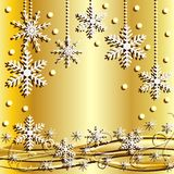 Festive christmas background with snowflakes. Illustration Stock Photo