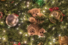 Festive Christmas Background. Christmas Background With A Teddy Bear And Ornaments Royalty Free Stock Photos