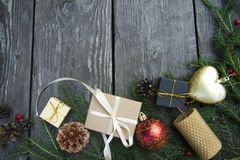 Festive christmas background top view with wooden table texture royalty free stock images