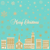 Festive Christmas background with a town. And snowflakes Royalty Free Stock Photography