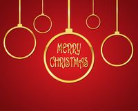 Festive Christmas background .Vector illustration. Festive red background with golden christmas balls and Merry Christmas text. Vector illustration. Holiday Stock Photography
