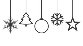 Festive Christmas background. Vector illustration. Various Festive hanging Christmas icons. Vector illustration. Christmas icons on white background Stock Photo