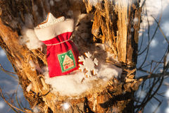 Festive Christmas bag with gingerbread cookie. Snowflakes outdoor. Background 2017 new year. Red fabric pouch in the tree Stock Photography