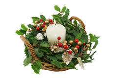 Festive Christmas Basket Royalty Free Stock Photography