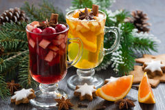 Festive Christmas beverages, biscuits and spices Royalty Free Stock Photo
