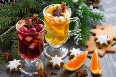 Festive Christmas beverages, biscuits and spices Royalty Free Stock Photos