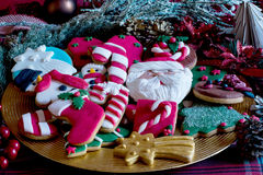 Festive christmas biscuits Royalty Free Stock Images
