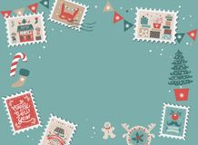 Festive Christmas border, frame. With Christmas tree and festive decorations garland, sock, stamps. Christmas market and Happy New year sign. Christmas template royalty free illustration