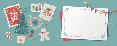Festive Christmas border, frame, card. With Christmas tree and festive decorations garland, sock, stamps. Christmas market and Happy New year sign. Christmas royalty free illustration