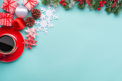 Festive Christmas border over blue Royalty Free Stock Image
