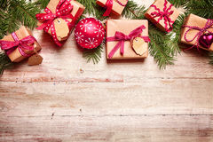 Festive Christmas border over wood Royalty Free Stock Image