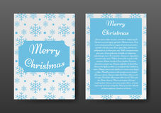 Festive Christmas Brochure with Blue Snowflakes on White Background, Greeting Card , Template. Royalty Free Stock Photo