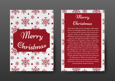 Festive Christmas Brochure with Red Snowflakes on White Background, Greeting Card , Template. Vector Illustration EPS10 Royalty Free Stock Photos
