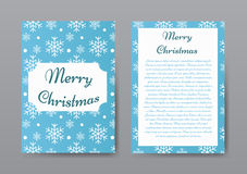 Festive Christmas Brochure with White Snowflakes on Blue Background, Greeting Card , Template. Royalty Free Stock Images