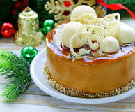 Festive Christmas cake caramel biscuit Stock Photos