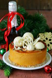 Festive Christmas cake caramel biscuit Stock Images