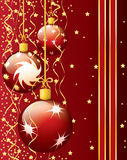 Festive Christmas card. With balls, stars and paper streamer. EPS 10 Royalty Free Stock Images