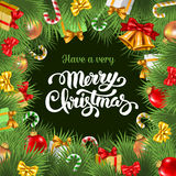 Festive Christmas card. Festive background with Christmas decorations, branches of spruce and calligraphic inscription Have a very Merry Christmas. Vector Stock Photos