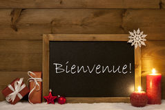 Festive Christmas Card, Blackboard, Snow, Bienvenue Mean Welcome Stock Photos