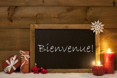 Festive Christmas Card, Blackboard, Snow, Bienvenue Mean Welcome Stock Photos