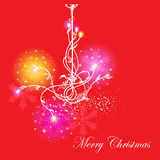 Festive Christmas card. With the chandelier, lights and snowflakes on red with text Stock Images
