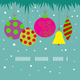 Festive Christmas card with Christmas decorations Royalty Free Stock Images