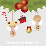Festive Christmas card with Christmas elements. Festive Christmas card with Christmas items. Template for decoration and greetings. Christmas baby vector Royalty Free Stock Photography