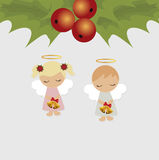 Festive Christmas card with Christmas items. Template for decoration and greetings. Christmas baby vector illustration Royalty Free Stock Images