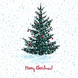 Festive Christmas card. Fir tree with red balls on white snowy seamless background and text Merry Christmas. Vector illustrations Royalty Free Stock Photo