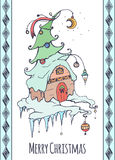 Festive Christmas card with a hand-drawn picture. And wish for your creativity Royalty Free Stock Images