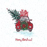 Festive Christmas card. Red car with fir tree decorated red balls and gifts on roof. White snowy seamless background and text Merr. Y Christmas. Vector Royalty Free Stock Images
