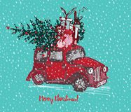 Festive Christmas card. Red taxi cab with fir tree decorated red balls and gifts on roof. White snowy seamless background and text. Merry Christmas. Vector Royalty Free Stock Photos