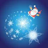 Festive Christmas card with Santa Claus. On a blue background with glowing snowflakes Stock Image