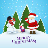Festive Christmas card. Santa Claus snowman rabbit Christmas holiday card Royalty Free Stock Photo