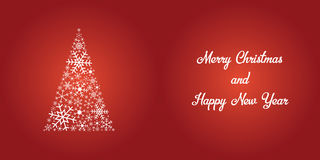 Festive christmas card - shiny white snowflake tree and text on Royalty Free Stock Images