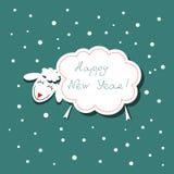 Festive Christmas card with symbol of lamb Stock Photos