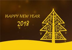 Festive Christmas card, yellow Christmas tree. Happy new year, bright yellow card from the hand drawn Christmas tree Royalty Free Stock Photos