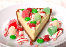 Festive Christmas Cheesecake with assorted candies Stock Photo