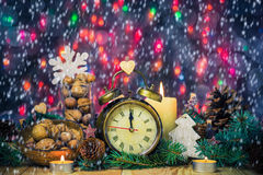 Festive Christmas clock time twelfth New Year Stock Photos