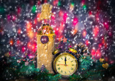 Festive Christmas clock time twelfth New Year Royalty Free Stock Images