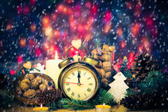 Festive Christmas clock time twelfth New Year Royalty Free Stock Image