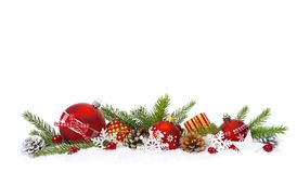 Festive Christmas composition in snow stock images