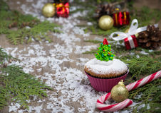 Festive Christmas cupcake with tree. For holiday royalty free stock images