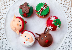 Festive Christmas cupcakes Royalty Free Stock Images