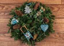 Christmas wreath for the door royalty free stock photo