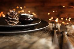 Christmas decoration for a place setting stock image